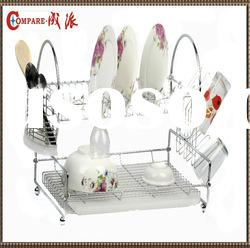 chrome plated wire dish rack with tray,cutlery basket and cup holder
