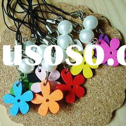 fashion bead and flower wooden cell phone key chain promotional gift item