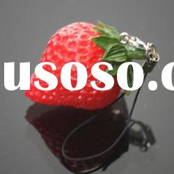 fashion fruit mobile phone key chain cute strawberry cell phone chains