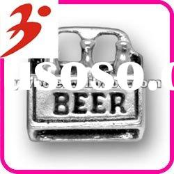 hot sale alloy plating antisilver 6 pack of beer charm for necklace accessory (185282)