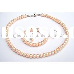 pink button freshwater pearl set jewelry