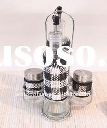 round glass oil and vinegar bottle and salt and pepper jar set with straw