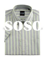 short sleeve casual yarn dyed shirt for men