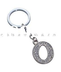 Promotion Fashion Capital Letter O Shape Key Chains with diamands