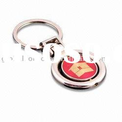 Round Shape Rotated Metal Key Chain metal with custom laser logo