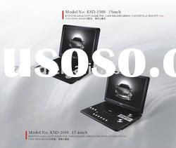 15inch KSD-1588 portable DVD player with SD.MMC.USB.TV player