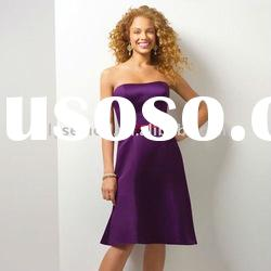 2011 Newly Gorgeous Strapless Satin Knee Length Purple Bridesmaid Dress