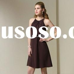 2011 Styles Halter Knee Length Chiffon Brown Bridesmaid Dresses