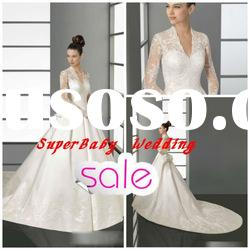 2012 Latest W-908 long sleeve lace long tail trupmet modern bridal wedding dress