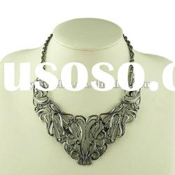 2012 New Cheap Fashion Bijoux Necklace,Zinc Alloy Imitation Leather Jewelry