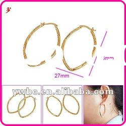 2012 fashion gold plated oval hoop earrings (E630598)
