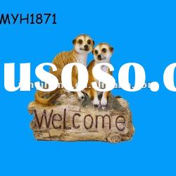 2012 new fashion resin welcoming meerkat garden ornament yard statue outdoor decoration