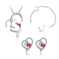 4327-4330 fashion zinc alloy costume necklace earring Heart fancy Crystal jewelry sets 4327-4330