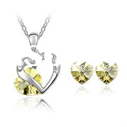 Cheap Jewelry 100% Autria Heart Necklace and Earring Set (4346-4354) /Fashion Jewellery Set