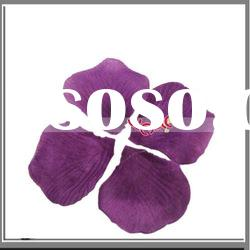 Dark Purple Silk Rose Petals Wedding Flowers,Party Petals Rose Artificial Decoration