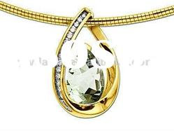Fashion Green Diamond Pendant Designs Jewelry/Drops Shape Crystal Pendant/Golden Jewelry