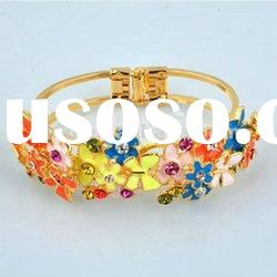 Fashion colorful enamel flowers with rhinestone spring alloy bangle