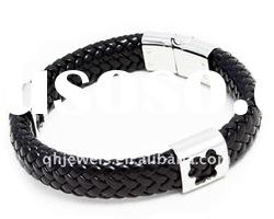 Fashion magnetic buckle leather bracelet