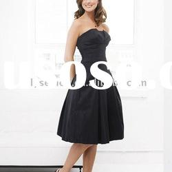Fashionable Strapless Black Satin Knee Length Bridesmaid Dress 2012