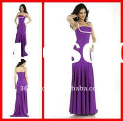 Glamorous Purple Mermaid/Trumpet Spaghetti strap Satin Long Formal Evening Dress 2012
