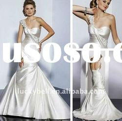 Hot sale New One -Shoulder Lace-up Wedding dress