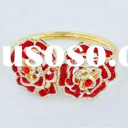 Hot selling two flowers red rhinestone spring bracelet
