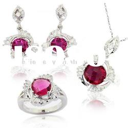 Jewelry set red stone costume, pendant & earring & ring