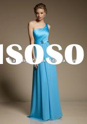 Modern One-shoulder Long Satin Chiffon Patterns For Bridesmaids Dresses