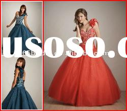 New 2012 Brilliant One Flower Straps Applique Tulle Ball Gown quinceanera dresses