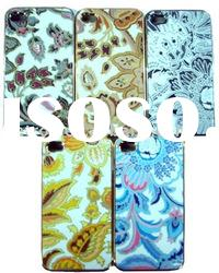 New design Hard Shinny flower leather skin Cover case For iphone 4 4g
