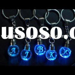 Nice 3d laser crystal key ring with LED light/promotional gifts