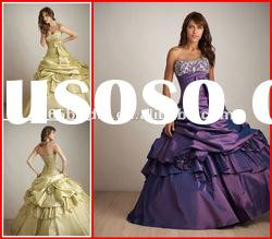 PYN2092 New Pleated Beaded Strapless Satin Ball Gown quinceanera dresses 2012