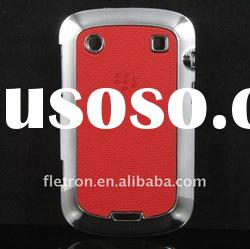 Red PU leather + Plated skin hard back case For blackberry Bold 9900 9930