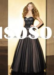 Ruching black evening dress fashion 2012 PE0556