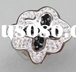 Stainless steel fashion rings with crystal