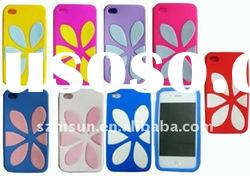 Stylish Soft Silicon Phone Case for iPhone 4 (Flower Pattern)