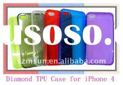 TPU Gel Case for iPhone4 with Diamond Pattern