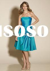 Top Sell Strapless Knee-length With Bow Blue Bridesmaid Dress