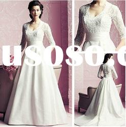 WD5580 A-line Taffeta Long Sleeve Bridal Wedding Dresses