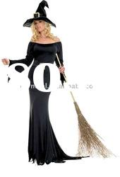Women black halloween witch costume/Hot sale halloween party costumes(BSWC-0024)