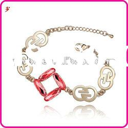 beautiful alloy gold plated red crystal with lucky number Bracelet(B100863)