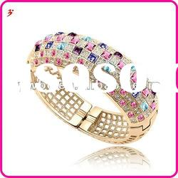 fashion 2012 alloy gold plated fuchsia and purple crystal bangle jewelry(B100892)