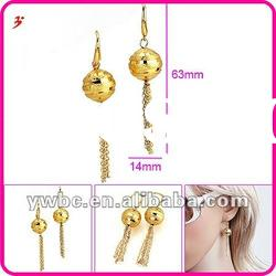 fashion 2012 gold plated brass ball with multi chains dangle earrings (E630594)