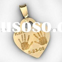 fashion heart fingerprint gold plated necklace pendant,fashion necklace jewelry