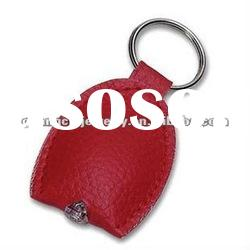 fashion led flashlight keychain plastic acrylic key chain logo leather keyring ring