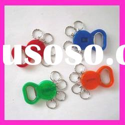 fashion promotion key ring plastic custom can and beer bottle opener