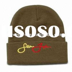 knitted beanie hat with embroidery logo