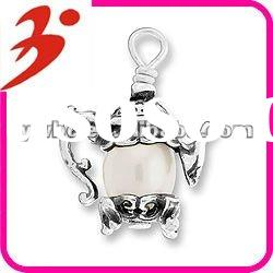 new style 2012 alloy silver teapot charm with pearl necklace accessory(185278)