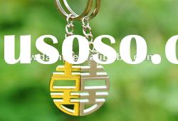 newest alloy silver and gold plated Chinese characters accent costume jewelry,alloy key chain KY0017