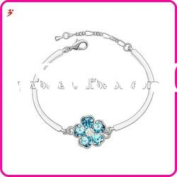 popular alloy silver flower shape with blue AB crystal bracelet bangle jewelry(B100901)